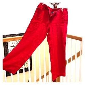 Linen red flowy pants